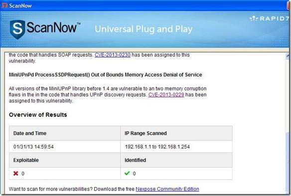 ScanNowUPnP risultato scansione vulnerabilità UPnP