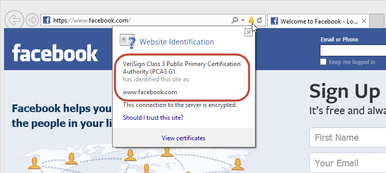 The real facebook.com site and SSL certificate