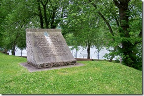 Daniel Boone stone monument, Kanawha River in background.
