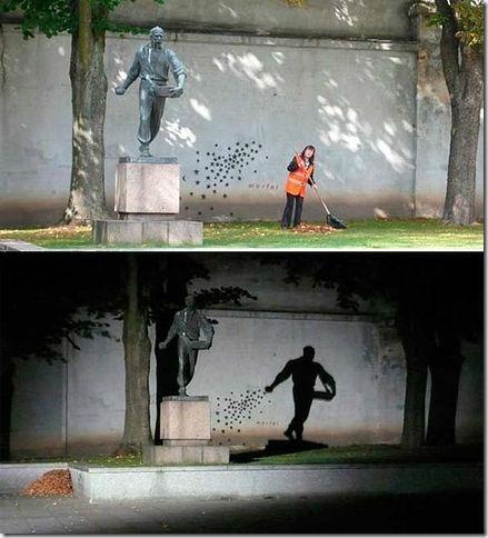 立陶苑的藝術石碑 ( 白晝與黑夜 ),難怪樹葉永遠掃不完,原來這尊石像會半夜偷撒樹葉呢!