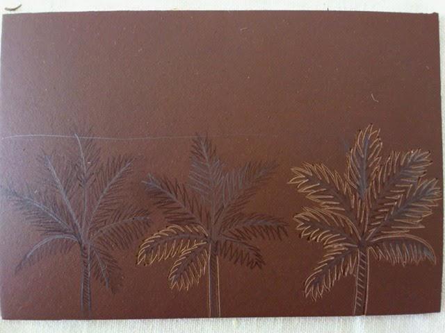 Palmtrees linogravure HeleneB2