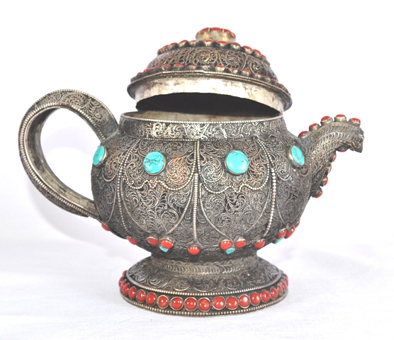 Tea Pot White Metal Crafted