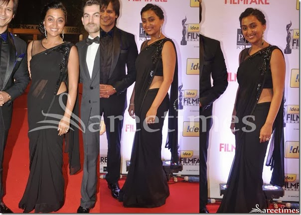 Priyanka_Alva_Black_Saree