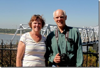 Sue and Pete at Mississippi River, Vicksburg, MS