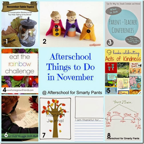 Afterschool Blog Hop Round Up: Things to Do In November