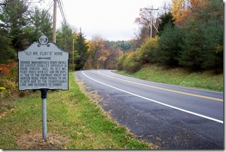 """Old Mr Flint's"" Home marker looking east on Route 144 toward Hancock, MD"