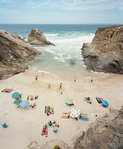 Photographs as decor can lend a modern sensibility to a living space. I absolutely love the unique vantage point the camera takes over the beach in this digital print.  'Praia Piquinia' by Christian Chaiz. (20x200.com)