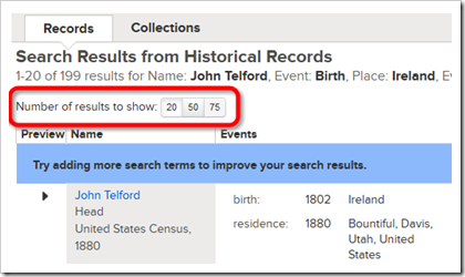 Set the number of search results shown on FamilySearech.org.