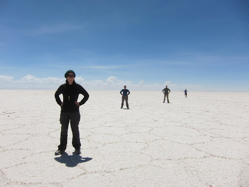 Striking a pose in the middle of the salt flats.
