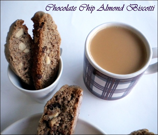 Chocolate Chip Almond Biscotti | For Blog Hop Wednesdays