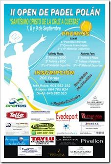 Torneo Open de pádel en Polán (Toledo) 7, 8 y 9 de septiembre de 2012.