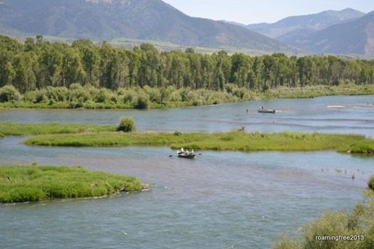 A popular fishing spot on the Snake River