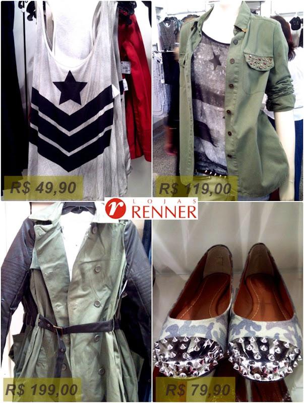 moda militar roupas nas lojas