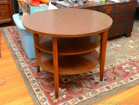 Round end table from the Comfy Couch