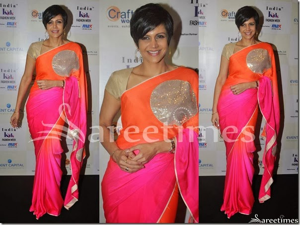 Mandira_Bedi_Red_Pink_Dual_Color_Saree