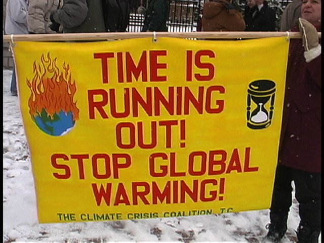 A protest banner in 2005 at a protest in St Paul, Minnesota, reads 'Time is running out! Stop global warming!'. Photo: globalclimatecampaign.org