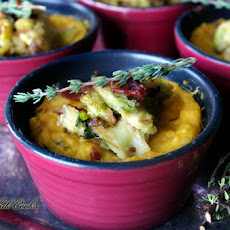 Butternut Squash and Potato Gratin with Braised Brussel Sprouts and Bacon