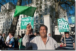 Gaddafi supporter at stop the war demonstration