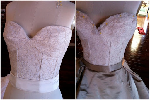The constructed bodice before and after the lace trim was added.