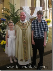 #5 of 5 and #4 of 5 with Fr. Timothy Yanta - after a weekend of Confirmation and First Communion masses