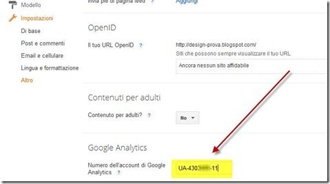 id proprietà google analytics