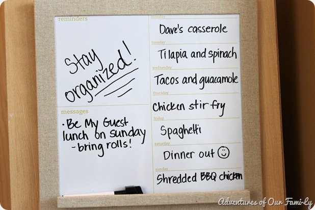 kitchen organization memo board
