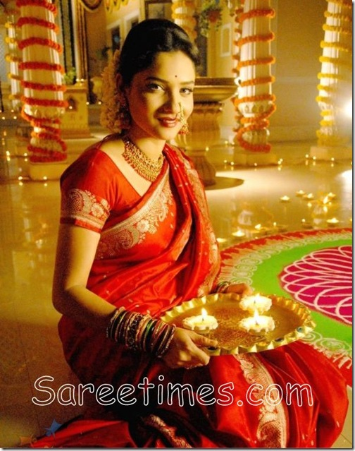 actress Ankita Lokhande in red designer traditional silk saree    Ankita Lokhande Black Saree