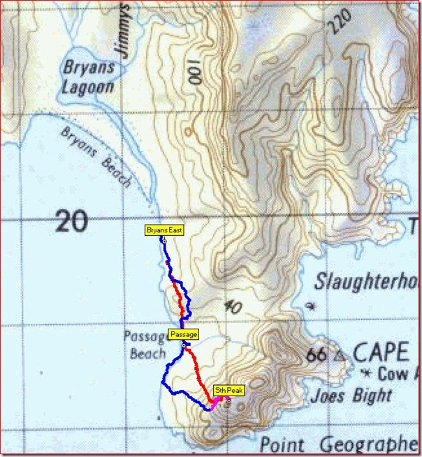 South Peak Freycinet Map Route
