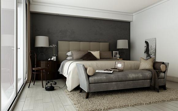 Dormitorio sofisticado: gris marrón, gris oscuro