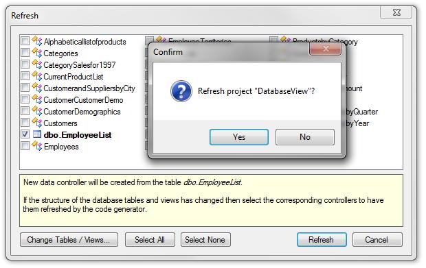 Adding 'dbo.EmployeeList' to the project.