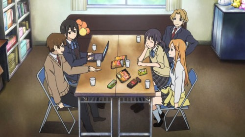 The main cast of Kokoro Connect sitting at a table in their club room