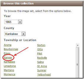 The Ancestry.com browse hierarchy correctly identifies Ganeer, Illinois