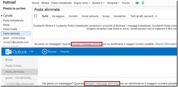 Recuperare email cancellate da Hotmail e Outlook.com