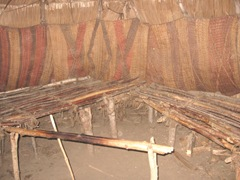Plimoth Plant indian woven mats inside winter house