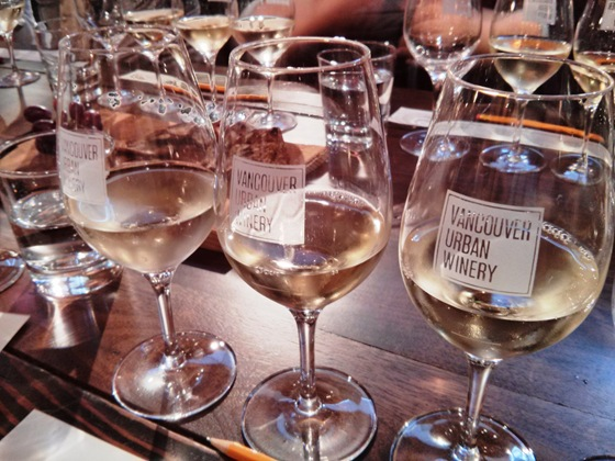 Joie's white wines in VUW's personalized stemware