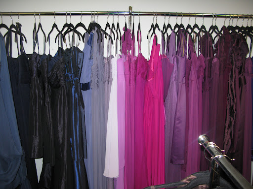 Bridesmaid dresses were displayed in a rainbow of hues.