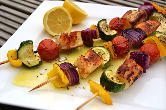 Grilled Halloumi Kebabs