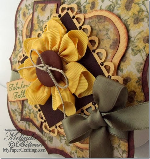 sunflower ribbon card side view cu480