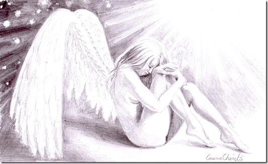 Sad lonely broken angel pencil drawing - Inger trist desen in creion