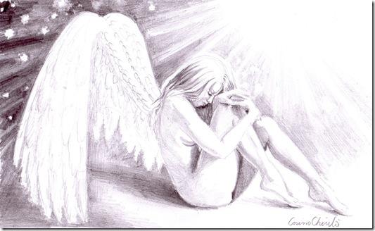 Sad lonely broken angel pencil drawing - Inger trist desen in creion