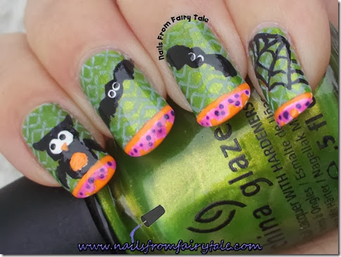china glaze cha cha cha with owl bats and web 3