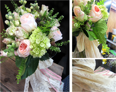 vintage wedding bouquet with garden roses