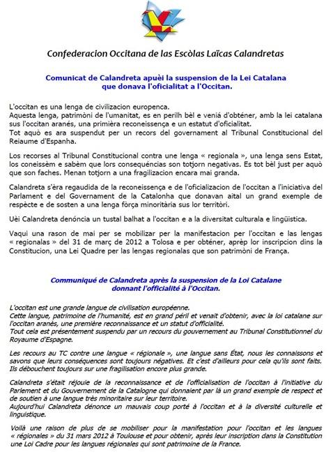 Comunicat Calandreta 220911