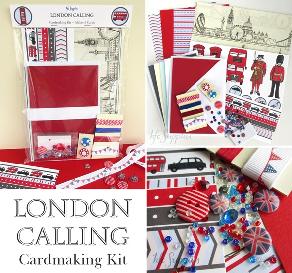London Calling Kit etsy 5 cards ribbon buttons paper