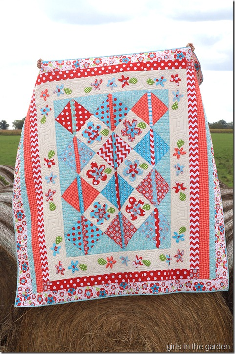 Sugar and Spice Picnic quilt -Girls in the Garden blog