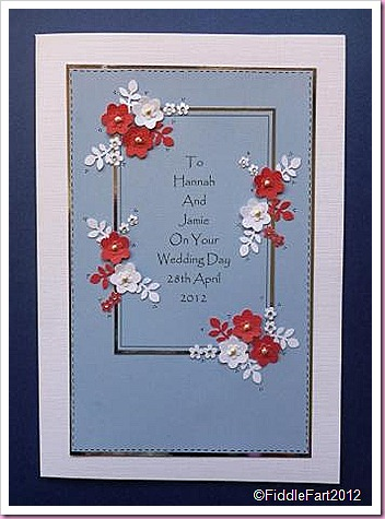 Wedding card with punched flowers