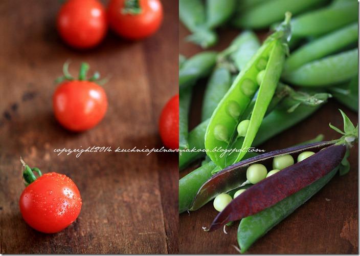 Fioletowy i zielony groszek, bób i quinoa z pomidorkami i kiszonym ogórkirm pod chmurka parmezanu1