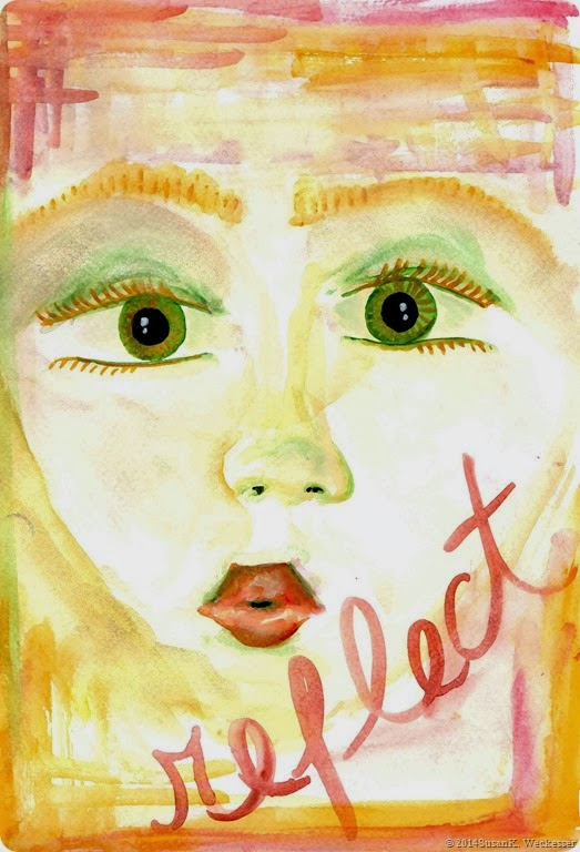 reflect girl watercolor dry brush
