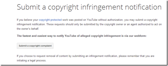 submitting a copyright infringement form