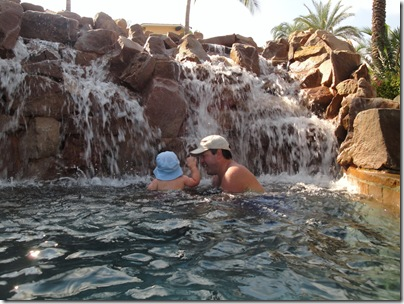 2.  Daddy and Knox playing on the waterfall